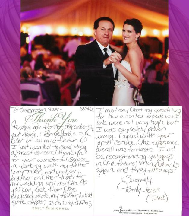 Received the sweetest Thank You from one of our Brides and Groom, Michael & Emily! So Kind to take the time to say Thank You!Love the picture of you and your dad Emily - PRICELESS♥